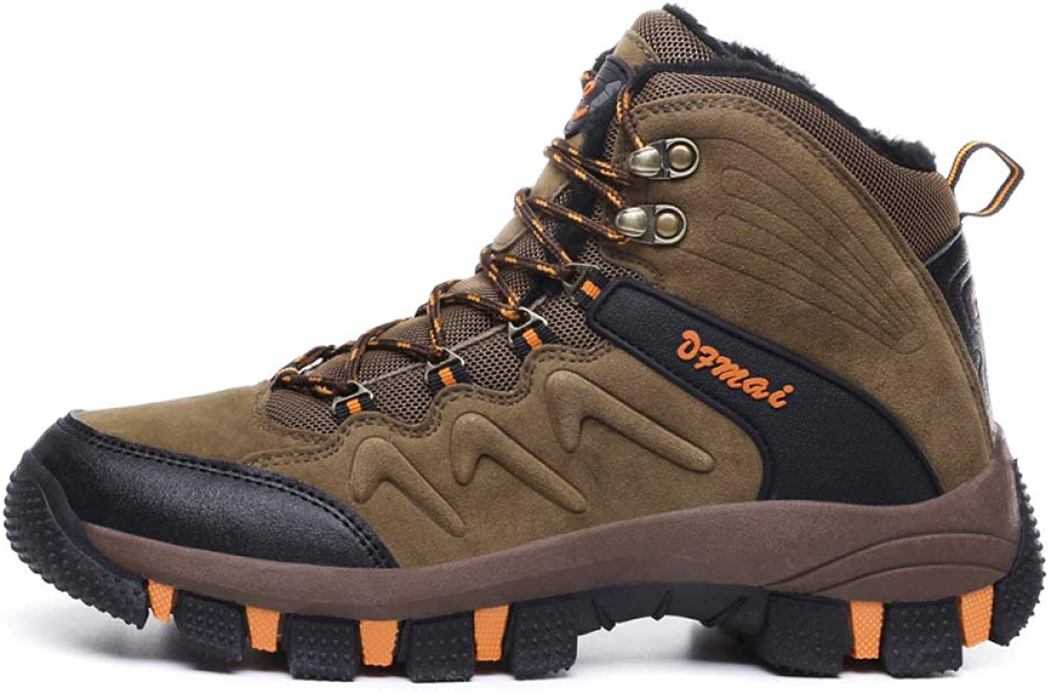 DZX Men's Winter Non-Slip Snow Boots Hiking Trekking Walking Outdoor shoes,Waterproof Climbing Athletic shoes Sneakers,Fully Fur Lined Boots,Brown-42