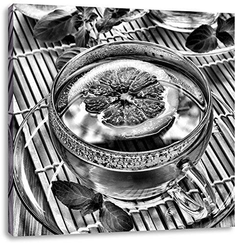 Groene thee met citroenCanvas Foto Plein   Maat: 60x60 cm   Wanddecoraties   Kunstdruk   Volledig gemonteerd
