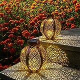 Devo Solar Lantern Lights Hanging Lanterns Tabletop Lanterns Solar Lights with Handle Outdoor Garden Decorative Lights 8H Iron Art Waterproof Anti-Rust Coating Spherical Brown (2 Packs)