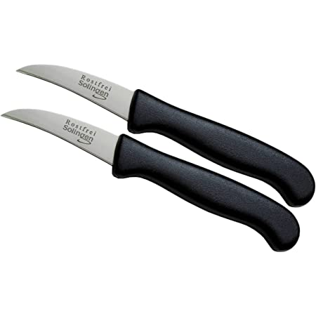 Lot de couteaux de cuisine, fabriqué en Allemagne, anti-rouille, polissage à la main, lame mince de roches, très aiguisé, passe au lave-vaisselle, Acier inoxydable, 2-Stück-Gebogen