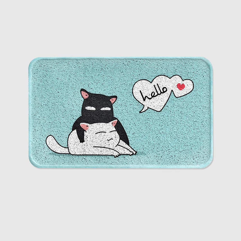 Doormat,Cute cat Entrance Door Non-Slip mats Household Indoor mats Silk Circle Door mat Home Decor-bluee A 75x45cm(30x18inch)