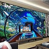 Papel Tapiz Mural 4D Personalizado,El Acuario Submarino Tv De Dibujos Animados De Fondo La Pintura De La Pared De Seda Grandes Hd Arte Imprimir Imagen De Póster Para La Habitación De Los Niños Dec