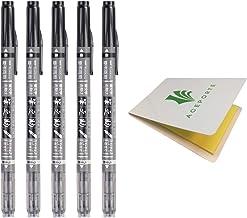 Tombow Fudenosuke Fude Brush Pen Dual Brush (GCD-121) x5 Set, with Original Sticky Notes – Great for Calligraphy, Art Drawings, Illustration, Manga