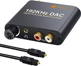Neoteck 192kHz DAC Conversor Digital Óptical Coaxial Toslink a Analógico Estéreo L/R RCA 3.5mm Jack Audio con Volumen Ajustable Convertidor Adaptador para PS34 Xbox HD DVD Sky HD Plasma Blu-ray