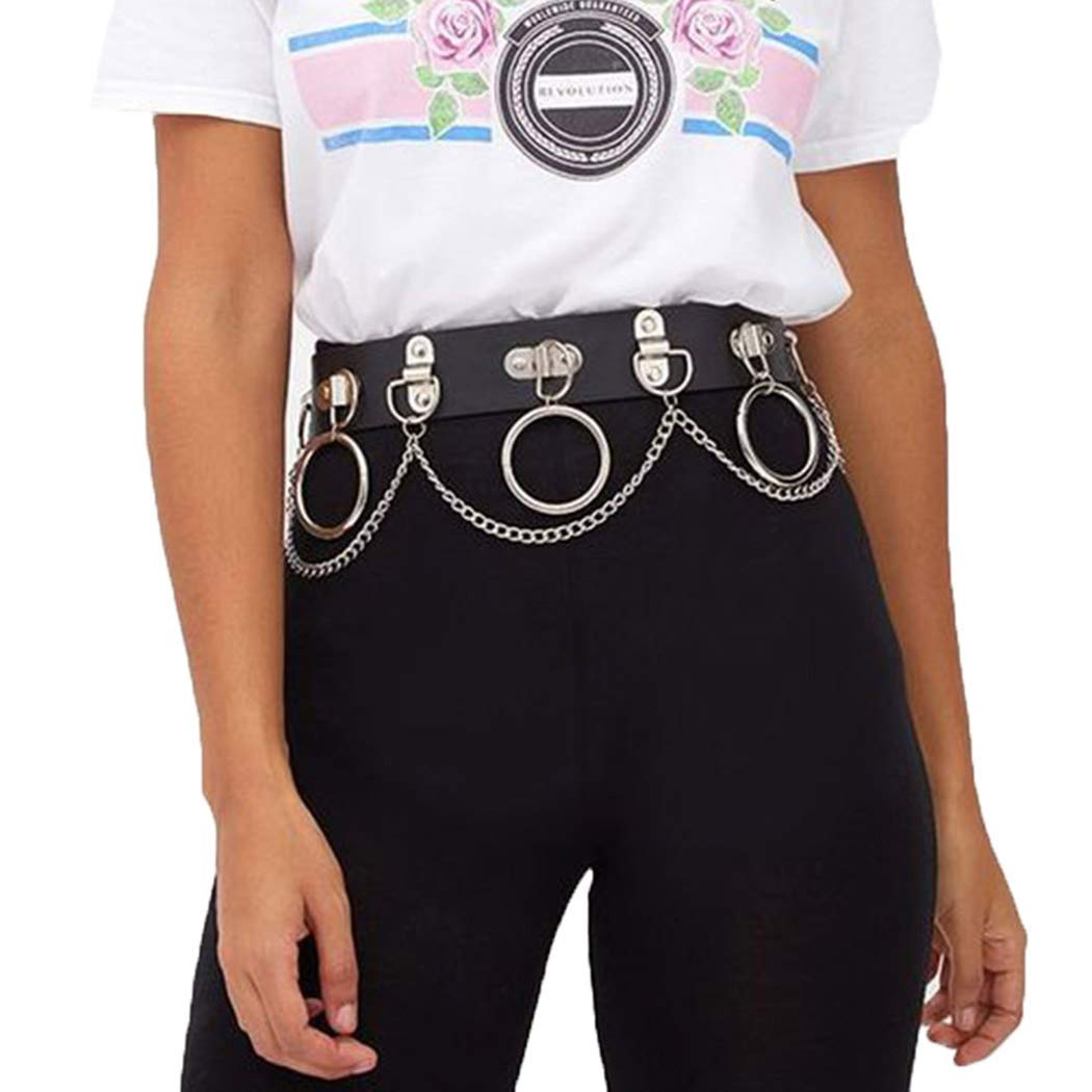 Relbcy Punk Waist Chain Attention Max 81% OFF brand Belt Black Body Rave Leather