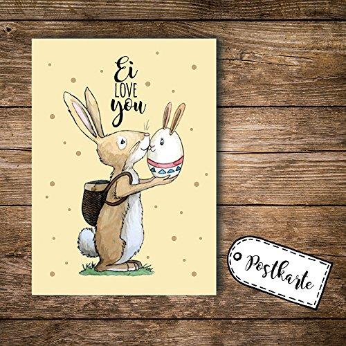 ilka parey wandtattoo-welt® A6 Postkarte Ansichtskarte Osterkarte Flyer Ostern Häschen Hase Osterhase mit Spruch Ei Love You pk100