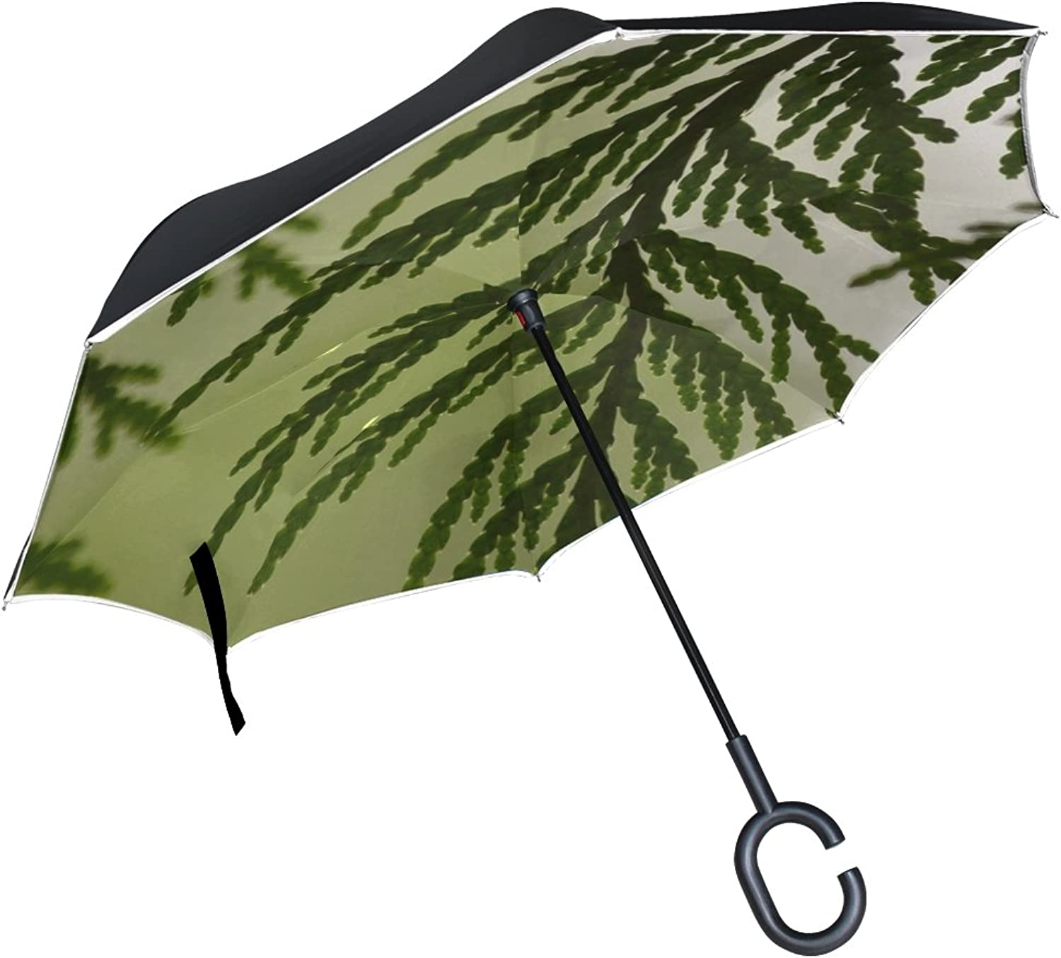 Double Layer Ingreened Cedar Leaf Leaves Boughs Plant Nature Tree Umbrellas Reverse Folding Umbrella Windproof Uv Predection Big Straight Umbrella for Car Rain Outdoor with CShaped Handle