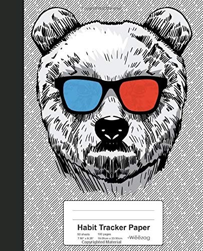 Habit Tracker Paper: Funny Bear 3D Glasses Book (Weezag Habit Tracker Paper Notebook, Band 42)