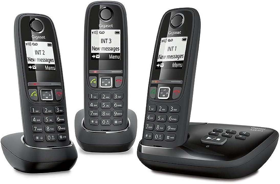 Trio telefoni dect identificatore di chiamata nero [francia]  gigaset as470a L36852-H2529-N111