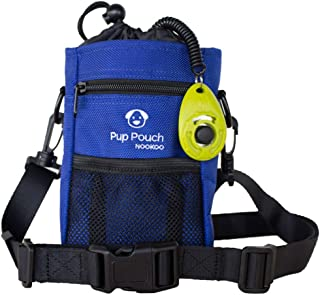 Dog Clicker Treat Walking Training Pouch Bag Bonus Clicker Trainer - Built-in Double Poop Bag Dispenser, Drawstring Closure - Carries Balls, Toys, Treats - 3 Ways to Wear