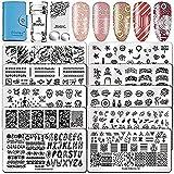 Biutee stamping nail art placas estampacion uñas 10 piezas de placa de hierro + tarjetero azul + sello de doble cabeza con 2 juegos de cabezales adicionales