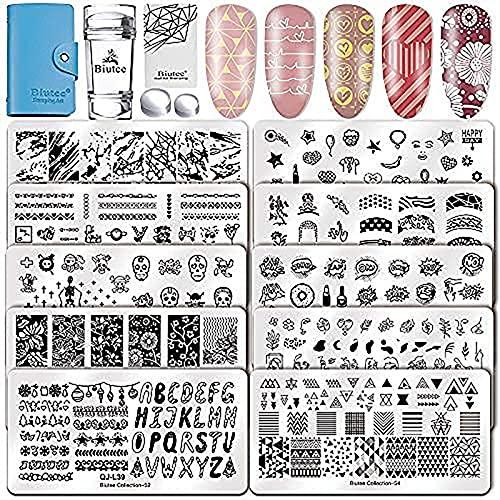 Biutee Nail Art Stamping Plantilla Estampación Uñas para Manicura10PCS Placas + 1 Sello de Silicona + 1 Rascador + 1 Bolsa para Placas+ 2 sellos extras