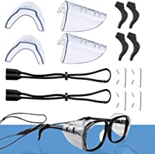 Safety Eye Glasses Side Shields, Adjustable Eyewear Retainer, Silicone Fixed Ear Hooks and Eyeglasses Nose Pads, Slip on Clear Side Shield for Adult Children's Sport - Fits Small to Medium(8 Pair)