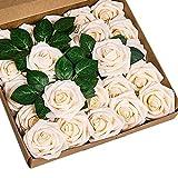 ShenHO Lot de 25 Roses artificielles en Mousse polyéthylène pour Bouquets de Mariage, centres de Table, décoration de fête de Mariage (Champagne, 25pcs)