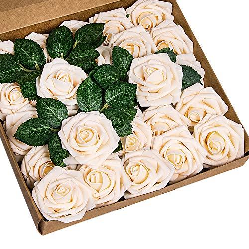 ShenHO rosas artificiales - 25 rosas artificiales de espuma de polietileno para bricolaje, ramos de boda, centros de mesa, decoración para fiesta de despedida de soltera, champán