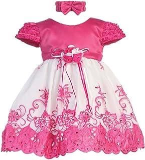 f2589e2c5 Shanil Baby Girls Fuchsia White Floral Jeweled Easter Flower Girl Bubble  Dress 3-18M