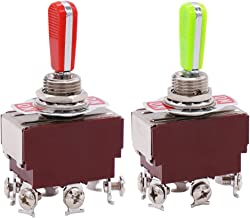 Twidec/2 Pcs Heavy Duty Rocker Toggle Switch 20A 125V DPDT 3 Position 6 Pin ON/OFF/ON Switch with PC Wear-resistant Handle, 2 Years Warranty TEN-A-6310GR