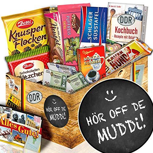 Hör off de Muddi + Geschenkset mit Spruch + Ossi Paket Schokolade