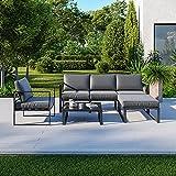 IMS Garden Salon de Jardin Angle Design - 5 Places - Ensemble de Salon Aluminium Couleur Gris - VITO