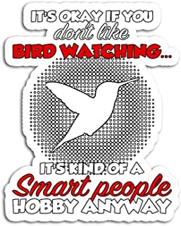Hand Wooden Customizable Sticker Bird Watching Funny Watcher Smart People Stickers for Personalize (3 pcs/Pack)