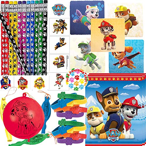 Paw Patrol Birthday Party Favors and Goodie Bag Fillers Pack For 24 Guests With Paw Patrol Pencils, Tattoos, Punch Balloons, Bracelets, Stickers, Goodie Bags, and Paw Pin