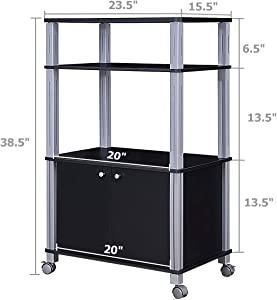 lunanice Black Size 23.5''×15.5''×38.5'' Rack Stand Rolling Storage Cart Drawers Multi-Functional Display Trolley Island Rack Bakers Microwave Dining Kitchen