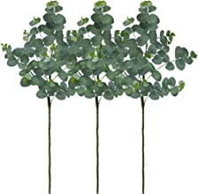 SUPLA 3 Pack Artificial Eucalyptus Leaves Greenery Stems Faux Silver Dollar Eucalyptus Plant Spray in Grey Green 35.4