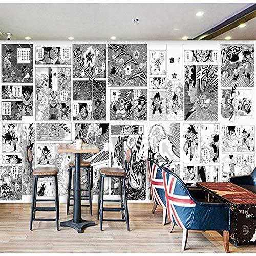 LJIEI Wandbilder Tapeten 3D Kinder Schlafzimmer Raumdekoration Wohnzimmer Kindergarten Dekor modern gross groß 3D einteiliges Manga-Schwarzweiss-Anime-Restaurant-Schlafsaal-Schlafzimmer