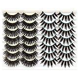 Losha False Lashes Pack 14 Pairs Dramatic Faux Mink Lashes for Women Soft Fluffy Volume 3D Eyelashes 2 Styles Mix Pack