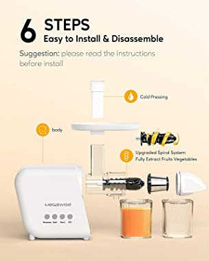 MegaWise Pro Slow Masticating Juicer 95% Juice Yield 2 Speed Modes 9 Segment Spiral Cold Press Extractor Machine for Vegetabl