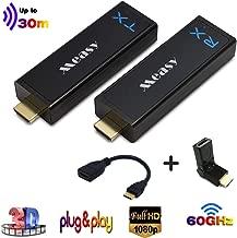 MEASY W2H Nano WHD30 Conjunto inalámbrico de Amplificador HD (Receptor y transmisor) para HDMI con Full HD 1080p 3D, inalámbrico, sin comprimir, Rango máximo. 30m/100ft, Negro