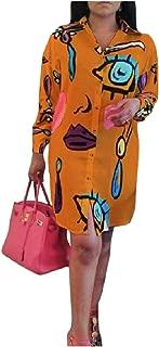 Mogogo Womens Shirt Button Flower Printed Individuality Short Dresses