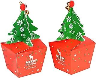 FLOFIA 25pcs Cajas Cajitas Regalo Navidad Cartón Papel Caramelos Forma Árbol de Navidad para Dulces Galletas Chocolates Pastel Regalos de Fiestas Año Nuevo Campanas Cuerdas Incuídas