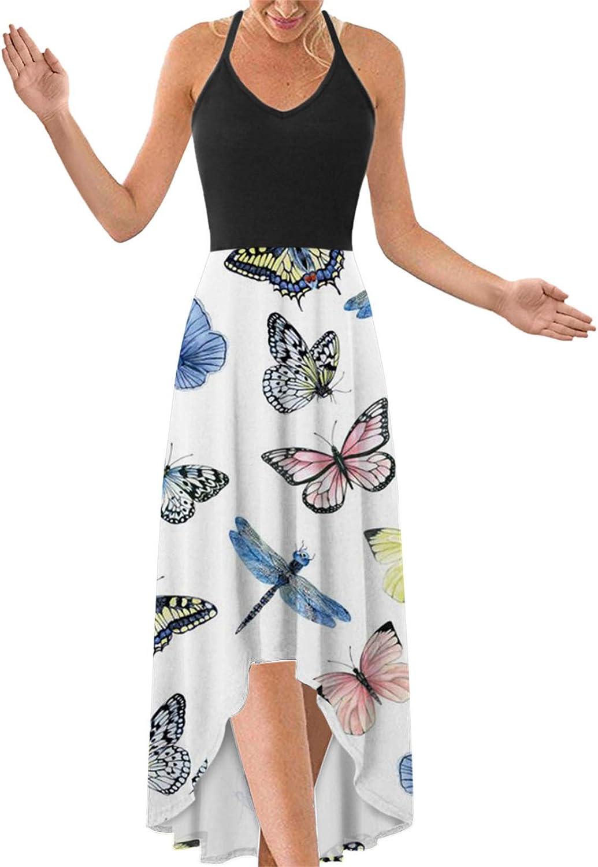 Tupenty Long Dress for Women, Womens Casual Summer Sundress Butterfly Print Sleeveless Asymmetrical Maxi Party Dress