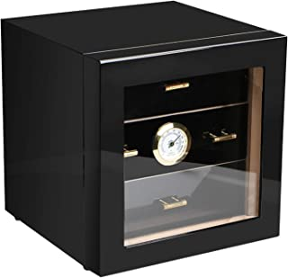 DONNGYZ Cigar Cabinet Humidor with Hygrometer and Humidifier, Spanish Cedar Wood Lined and 3 Layer Drawers, Tempered Glass Door, Decent Cigar Box Gift Set