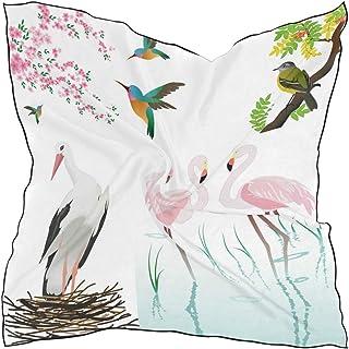 76c02c4e07 Hipiyoled Womens Birds Flamingos And Flowers Silk Feeling Square Scarf  Satin Neck Scarves Head Hair Wraps