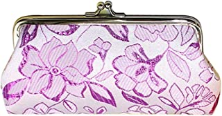 COAFIT Womens Coin Purse Simple Embroidery Clasp Closure Coin Pouch Coin Wallet (Purple)
