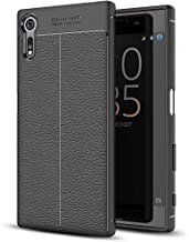 NALIA Leather Look Case Compatible with Sony Xperia XZ, Silicone Ultra-Thin Protective Phone Cover Rubber-Case Gel Soft Skin Shockproof Slim Back Bumper Protector Smartphone Back-Case Shell - Black