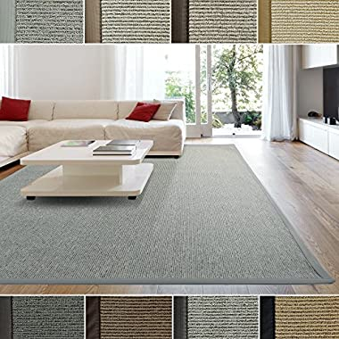 iCustomRug Zara Contemporary Synthetic Sisal Rug, Softer Than Natural Sisal Rug, Stain Resistant & Easy To Clean. Beautiful Border Rug in Silver Grey 7 Feet 10 Inches x 10 Feet (8' x 10')