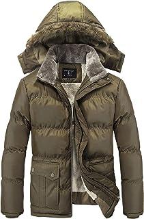 Moxishop Men's Middle-Aged Windbreaker Padded Hooded Waterproof Jacket Fur Collar Polar Jacket Dad Winter Jacket Jacket La...