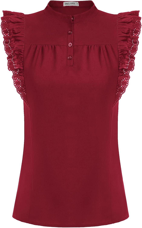 GRACE KARIN Women Casual Summer V Neck Sleeveless Tank Tops Button Down Ruffle Chiffon Cami Blouse Shirts