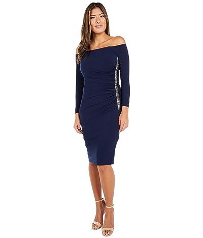 Adrianna Papell Off Shoulder Embellished Jersey Dress Women