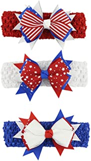 Astra Gourmet Patriotic Grosgrain Hair Bow Stretch Headband, 3 Pack American Flag Headband, Red White and Blue Baby Girls Headband for Independence Day