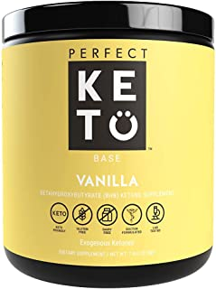 Perfect Keto Exogenous Ketones: Base BHB Salts Supplement. Ketones for Ketogenic Diet Best to Support Weight Management & Energy, Focus and Ketosis Beta-Hydroxybutyrate BHB Salt (Vanilla)
