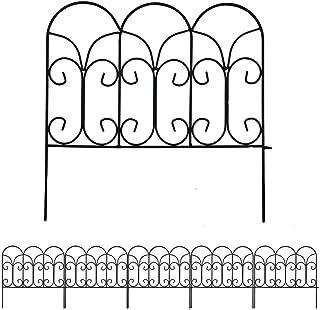 Amagabeli 46cm X 230cm Valla Jardín de Hierro - Set de 5 - Valla Decorativa Hierro para Jardín Metalicas Negro