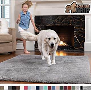 Gorilla Grip Original Faux-Chinchilla Area Rug, 7.5x10 Feet, Super Soft and Cozy High Pile Washable Carpet, Modern Floor Rugs, Luxury Shaggy Carpets for Home, Nursery, Bed and Living Room, Dark Gray