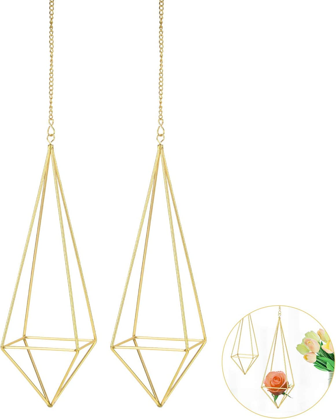 2 Packs Hanging Air Plant Holder Tabletop Metal Dec Easy-to-use Mini Rapid rise Himmeli