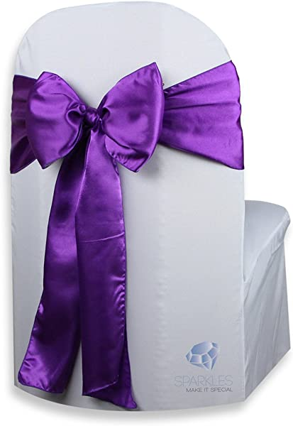 Sparkles Make It Special 100 Pcs Satin Chair Cover Bow Sash Purple Wedding Party Banquet Reception 28 Colors Available