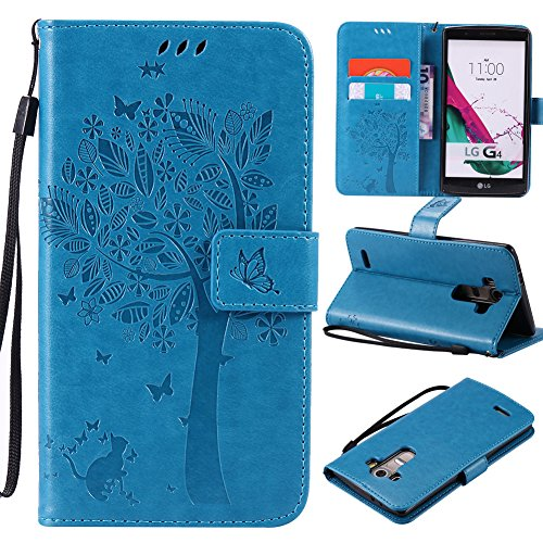 LG G3 Case,Best Share Embossing Fashion Floral Countryside Pattern PU Leather Flip Stand Case Wallet Design Card Slot Kickstand Feature with Hand Strap Cover for LG G3 VS985 D850 D851 4G LT,Blue