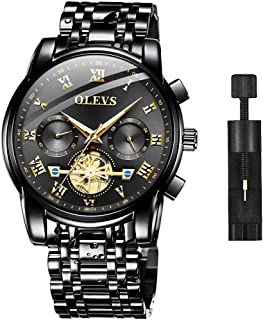 Men Watch Stainless Steel Black Wrist Watches Business Waterproof Dress Casual Analog Quartz Classic Luminous Luxury Chronograph Wristwatches